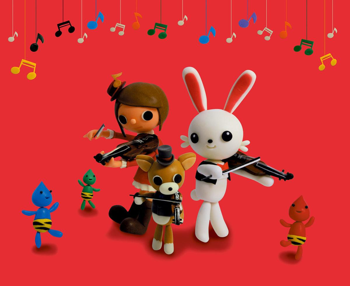 2011年2月号 民主音楽協会コンサートガイド表紙「うさぎとバイオリン」
