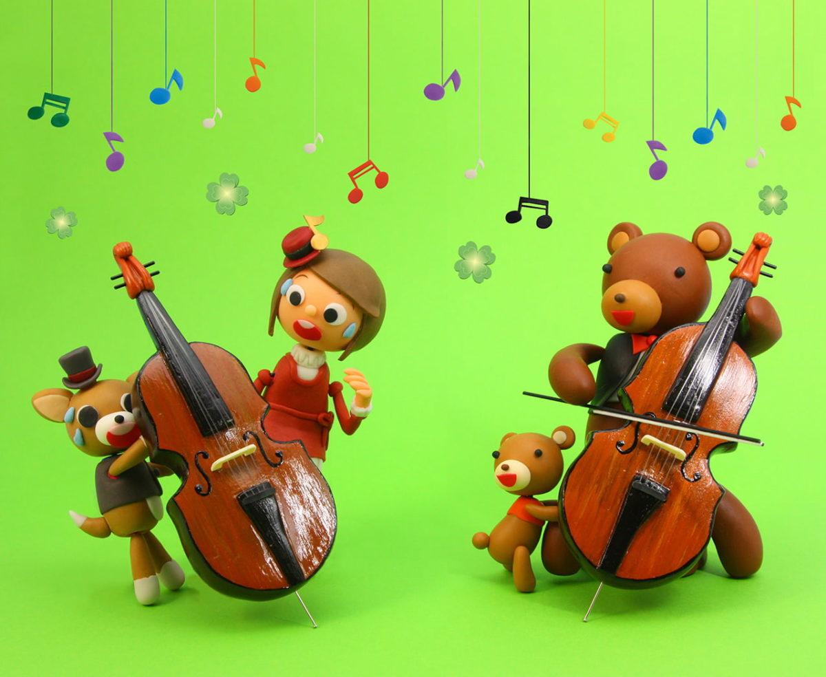 2011年5月号 民主音楽協会コンサートガイド表紙「くまの親子とチェロ」