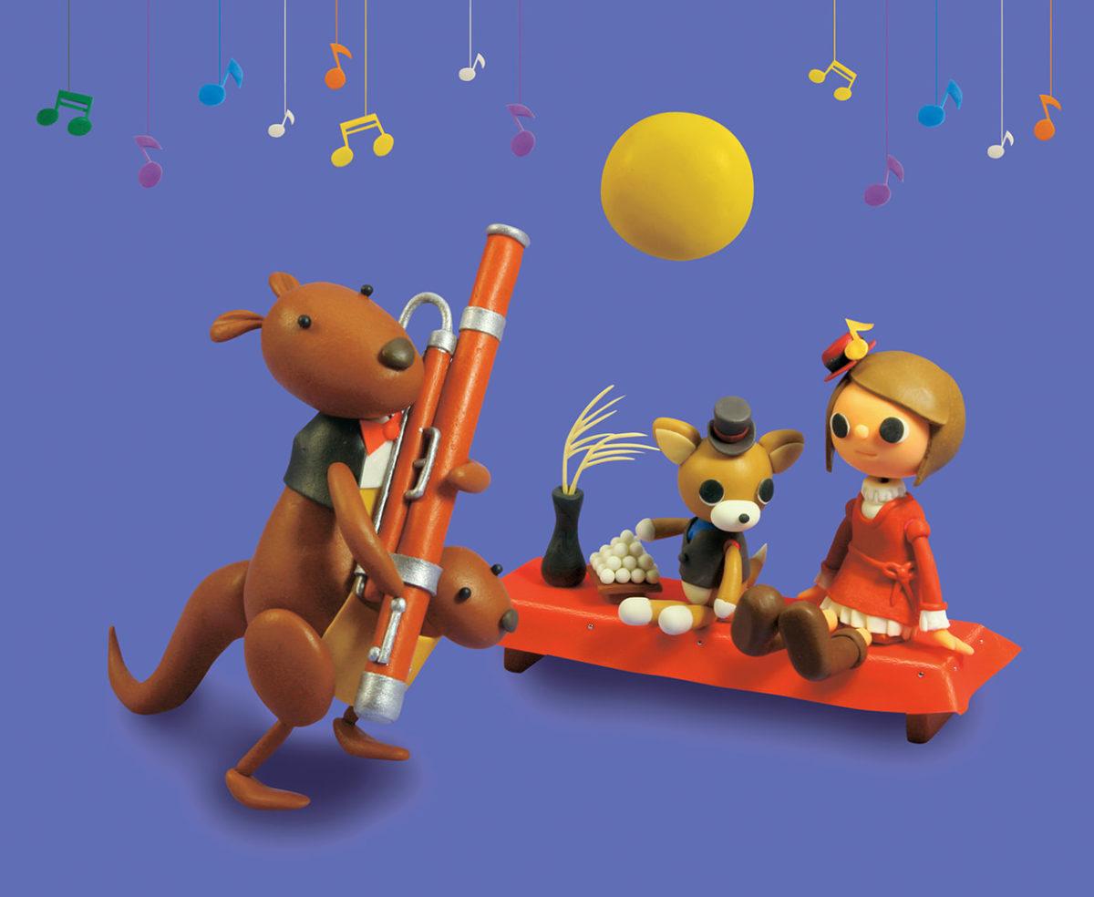 2011年9月号 民主音楽協会コンサートガイド表紙「カンガルーの親子によるファゴット演奏とお月見」