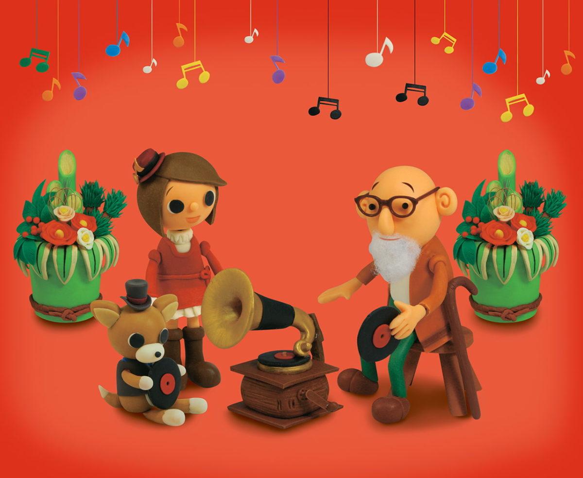 2012年1月号 民主音楽協会コンサートガイド表紙「おじいちゃんの蓄音機」