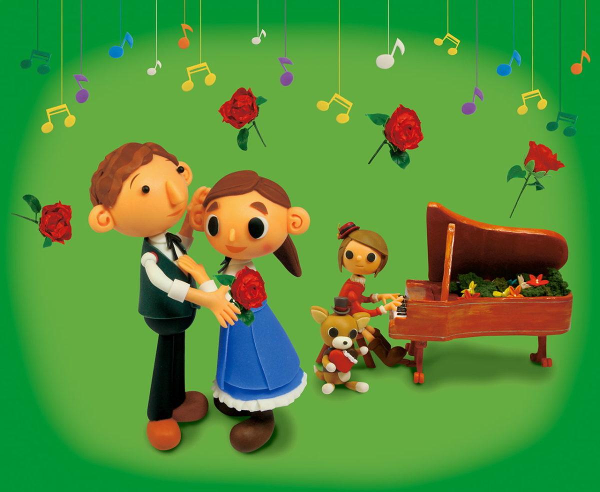 2012年2月号 民主音楽協会コンサートガイド表紙「ミミのピアノ演奏とお父さんとお母さんのダンス」