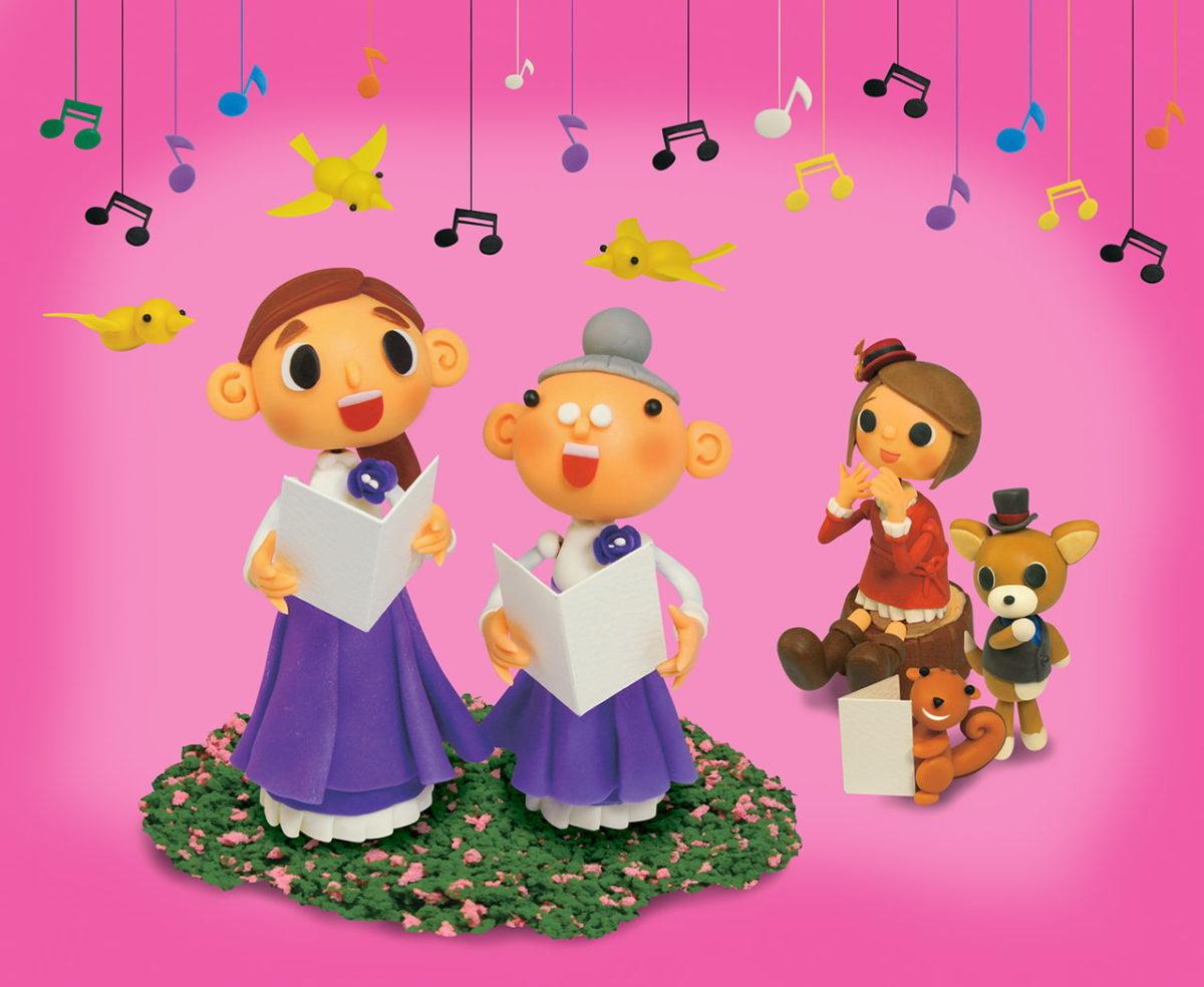 2012年4月号 民主音楽協会コンサートガイド表紙「お花畑でコーラス」
