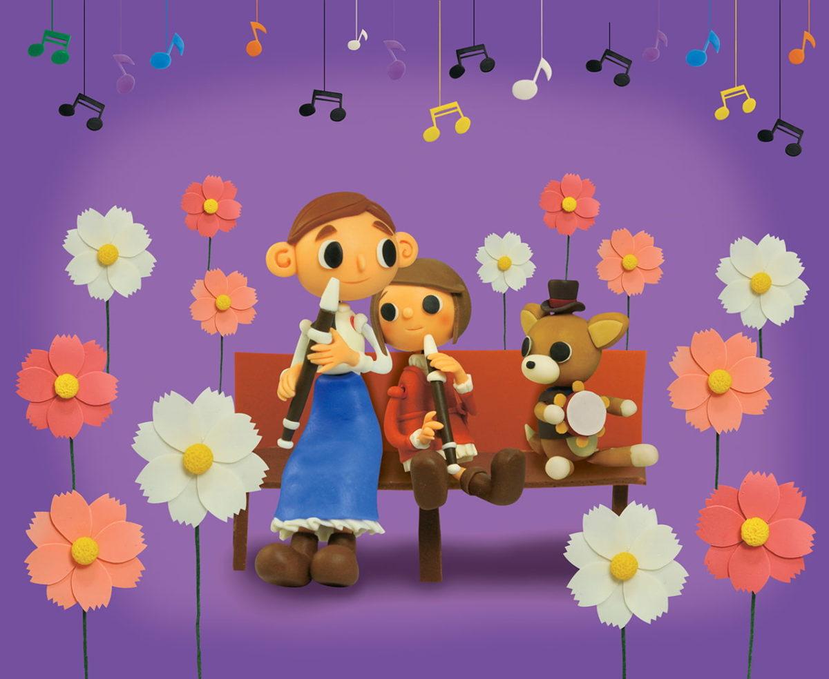 2012年9月号 民主音楽協会コンサートガイド表紙「コスモス畑で縦笛演奏」